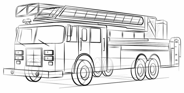 как рисовать пожарную машину простым карандашом для начинающих и деток фото 1