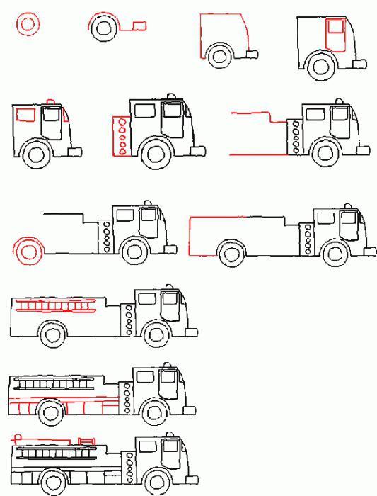 как рисовать пожарную машину простым карандашом для начинающих и деток фото 2