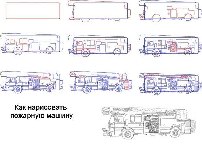 сложный вариантпожарной машины, рисунок карандашом фото 2