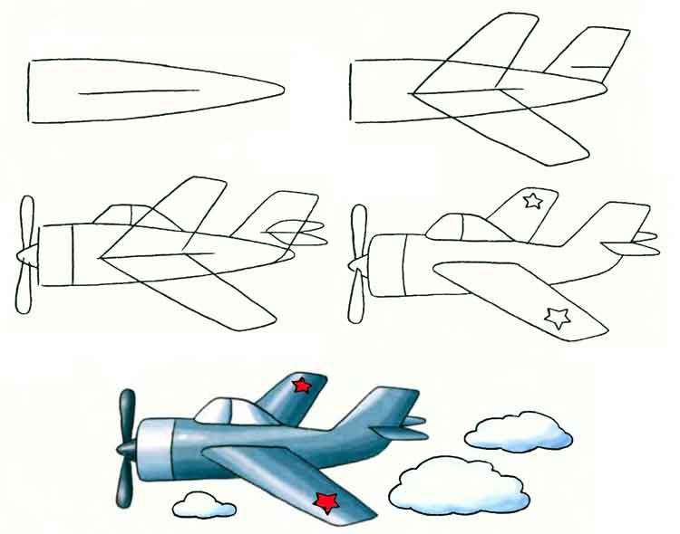 военный самолетрисунок карандашом фото 1