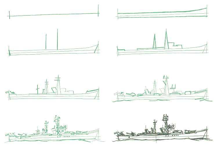 военный корабль рисунок карандашом фото 1