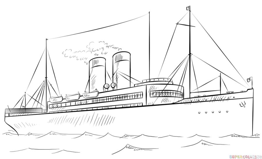 военный корабль рисунок карандашом фото 3