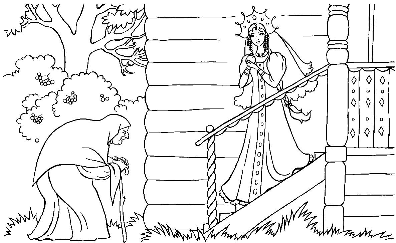 иллюстрация (рисунок) к сказке «Мертвая царевна и семь богатырей» по сказке Пушкина фото 1