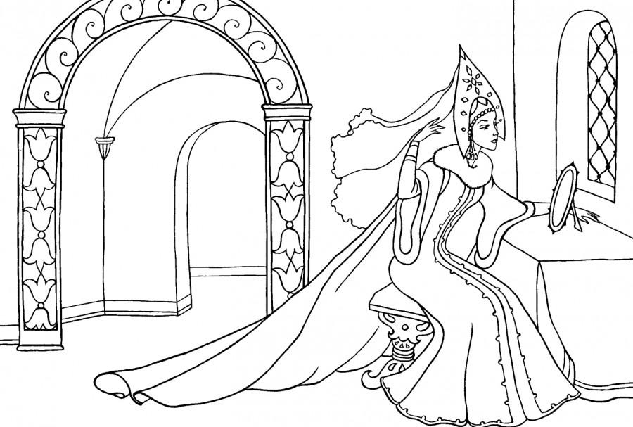 иллюстрация (рисунок) к сказке «Мертвая царевна и семь богатырей» по сказке Пушкина фото 2