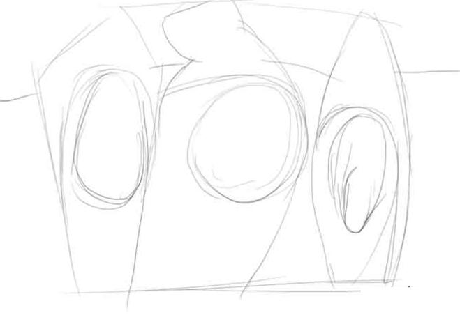 рисунок «Три богатыря» карандашом, пошаговый фото урок 1