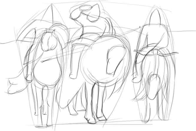 рисунок «Три богатыря» карандашом, пошаговый фото урок 2