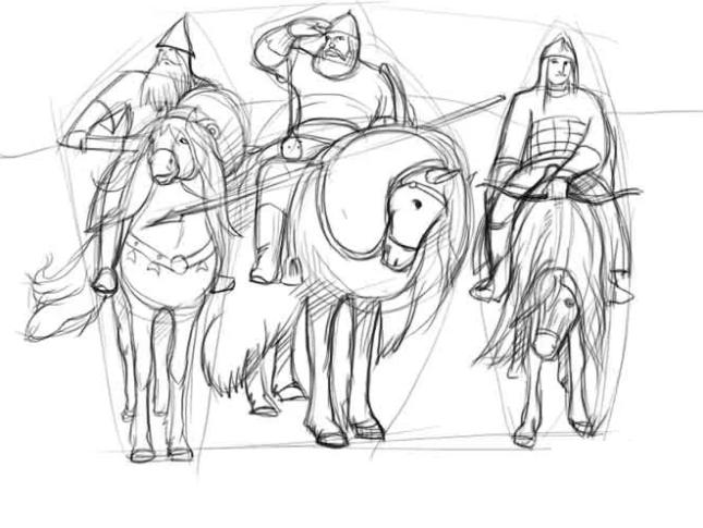рисунок «Три богатыря» карандашом, пошаговый фото урок 3