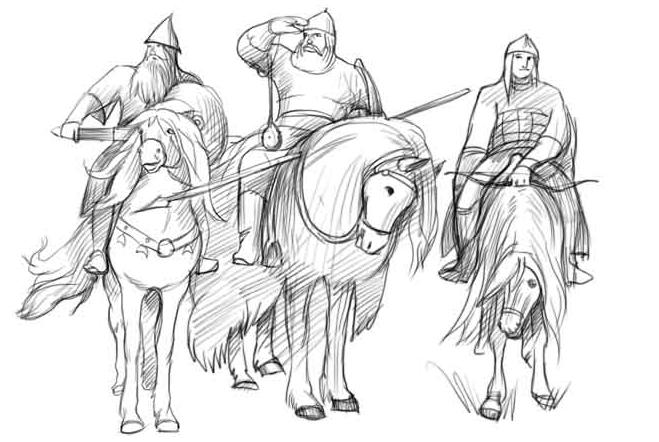 рисунок «Три богатыря» карандашом, пошаговый фото урок 4