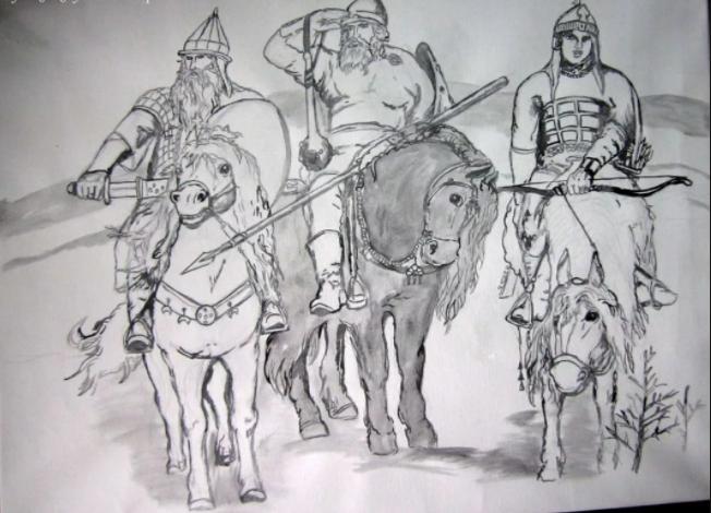 рисунок «Три богатыря» карандашом, пошаговый фото урок 5