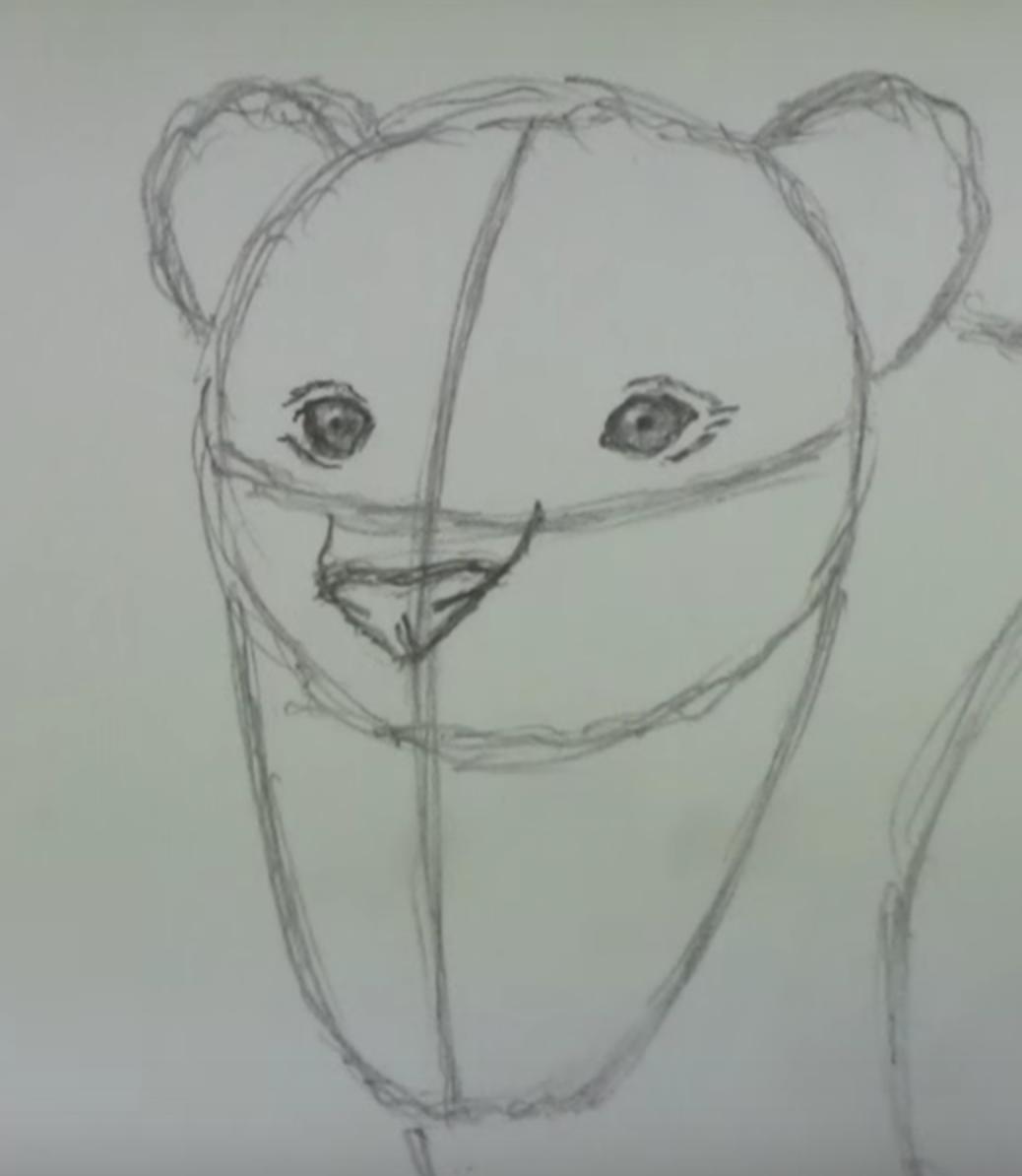 кисунок злого льва карандашом, как нарисовать фото 2