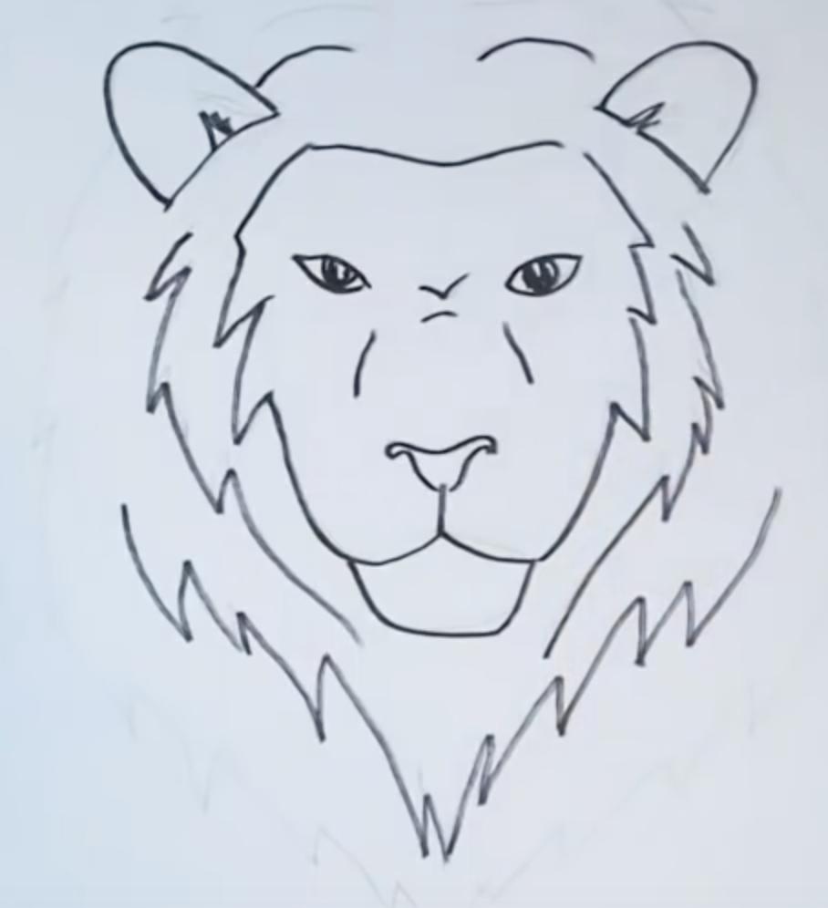 рисунок головы льва карандашом фото 3