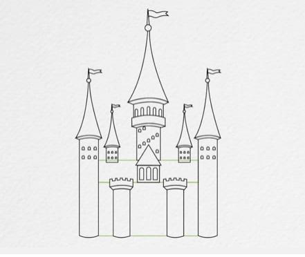 как нарисовать замок детям легко и красиво фото и видео 4