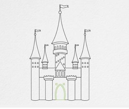 как нарисовать замок детям легко и красиво фото и видео 5