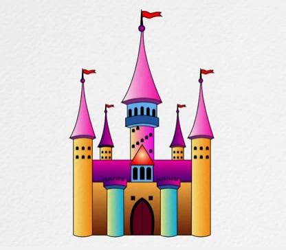 как нарисовать замок детям легко и красиво фото и видео 6