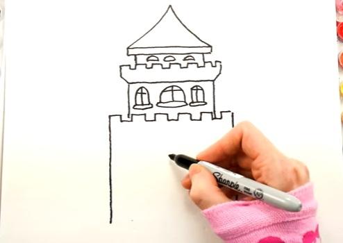 как нарисовать замок детям легко и красиво фото и видео 8
