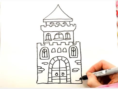 как нарисовать замок детям легко и красиво фото и видео 9