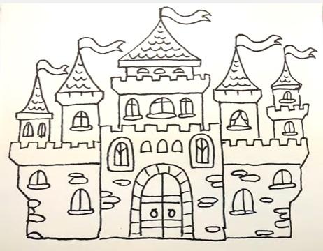 как нарисовать замок детям легко и красиво фото и видео 11