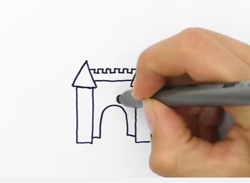 как нарисовать замок детям легко и красиво фото и видео 14