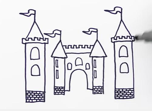 как нарисовать замок детям легко и красиво фото и видео 16