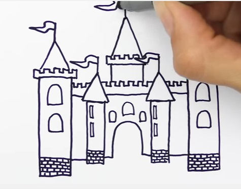 как нарисовать замок детям легко и красиво фото и видео 17