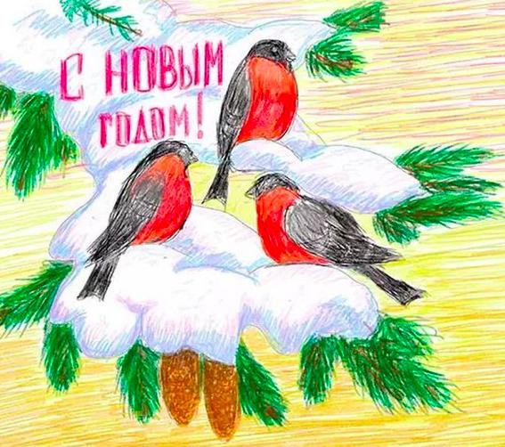 как нарисовать снегиря на Новый год 2019 Желтой Земляной Свиньи фото 5