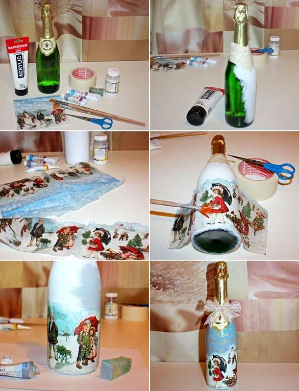 декупаж на бутылке шампанского, мастер-класс на фото 1