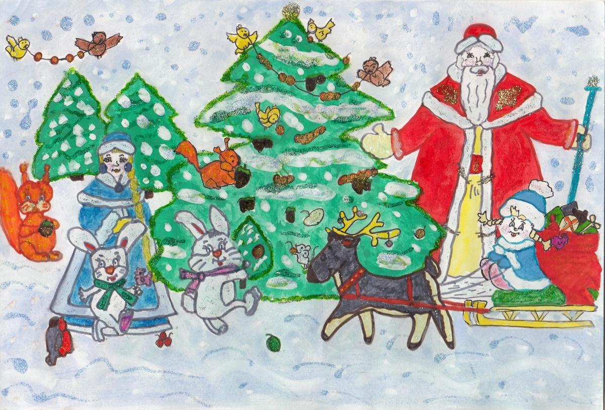 Днем почты, рисунок новому году для детей