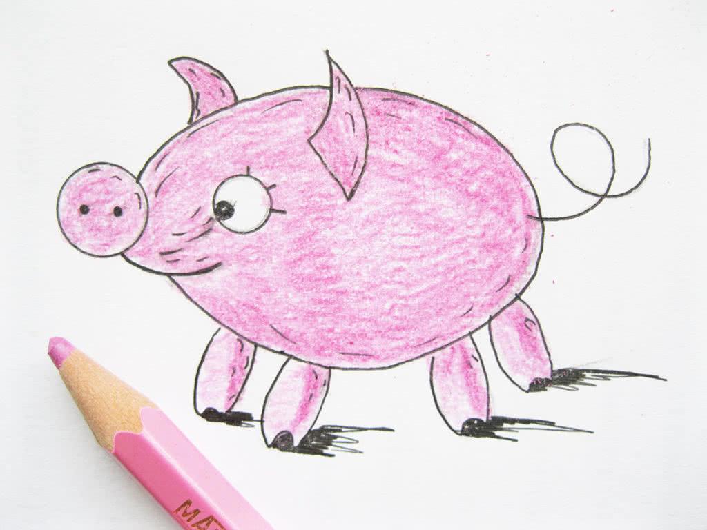 рисунок свиньи (хрюшки, поросят) - символа 2019 года фото 1