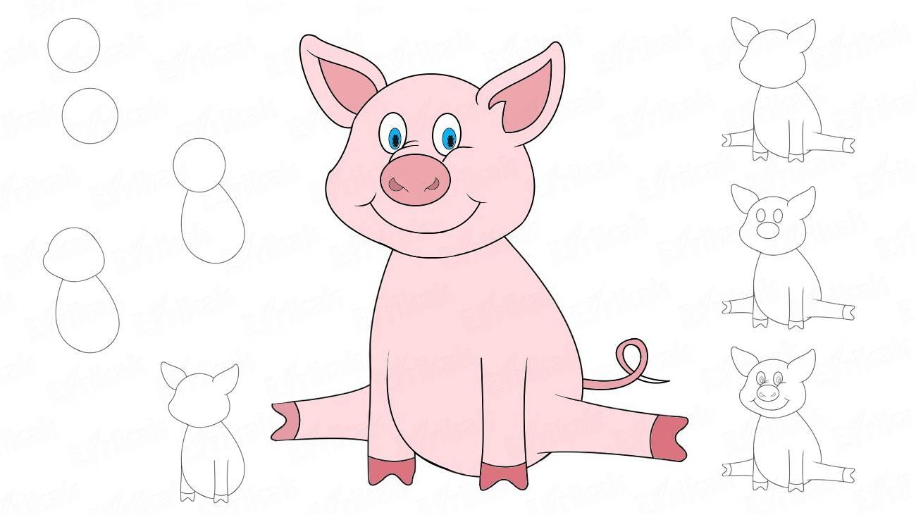 рисунок свиньи (хрюшки, поросят) - символа 2019 года фото 3