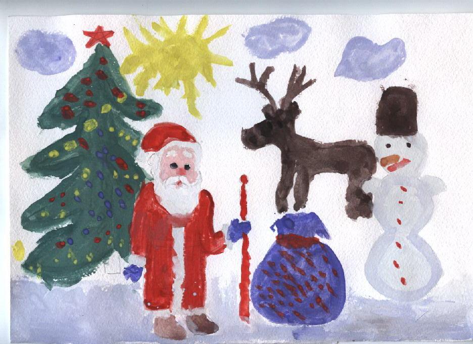 рисунки для детей на Новый год 2019, фото примеры 2