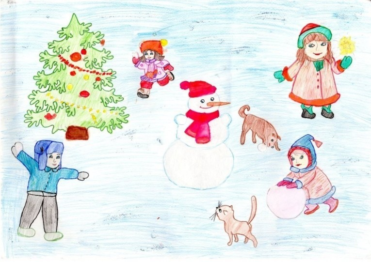 рисунки для детей на Новый год 2019, фото примеры 6