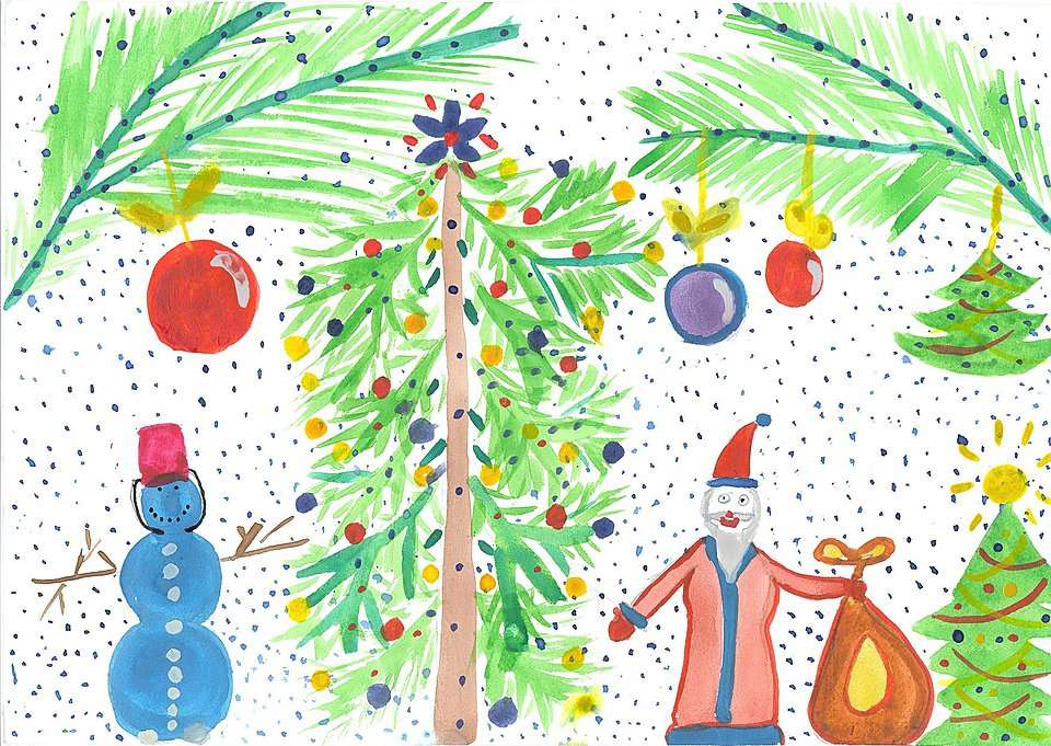 рисунки для детей на Новый год 2019, фото примеры 7