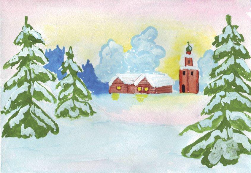 новогодний пейзаж своими руками фото 2