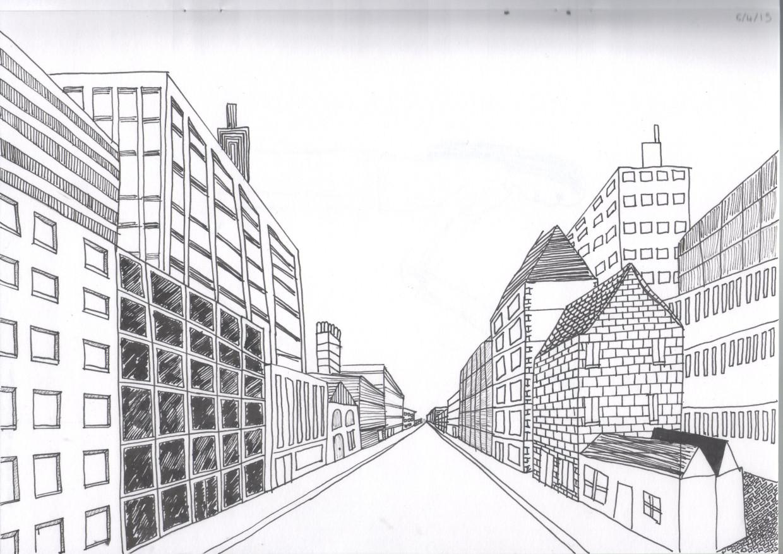 городской пейзаж - рисунок карандашом 6 класс поэтапно