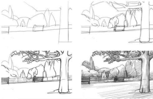 городской пейзаж рисунок карандашом 6 класс поэтапно - другие варианты на фото 1