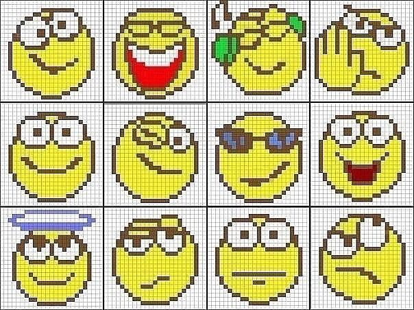 видео: смайлики по клеточкам, как правильно нарисовать фото 2