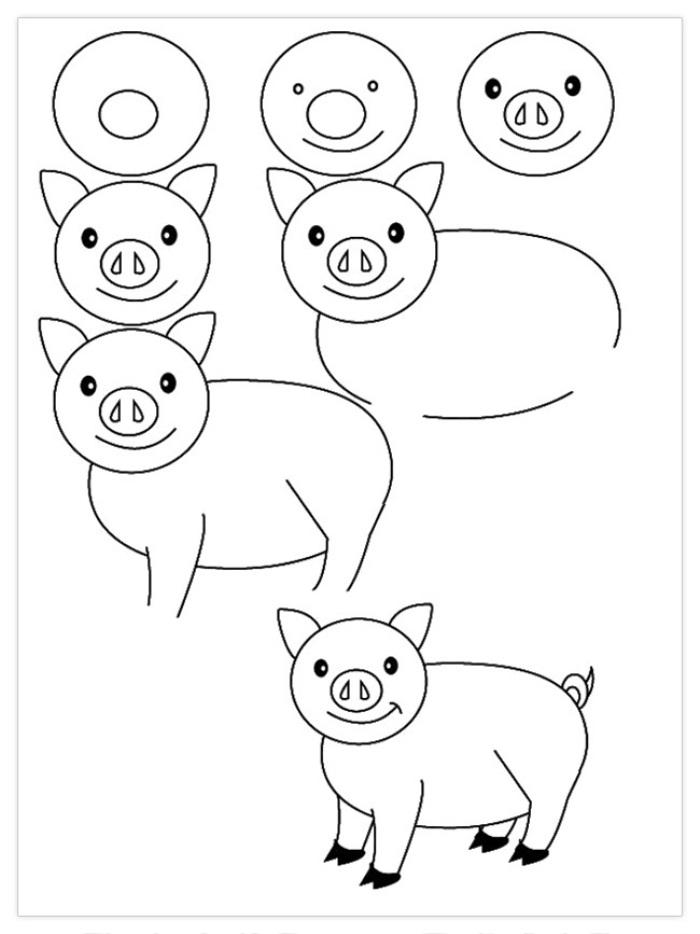 ак нарисовать свинью самым маленьким? Чуня и Пеппа - рисунок на фото 2