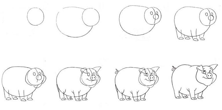 как поэтапно нарисовать свинью (символ 2019 года) фото 2