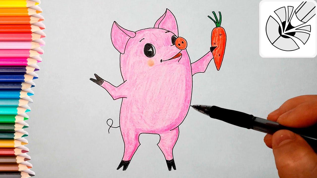 как нарисовать свинью самым маленьким? Чуня и Пеппа - рисунок на фото