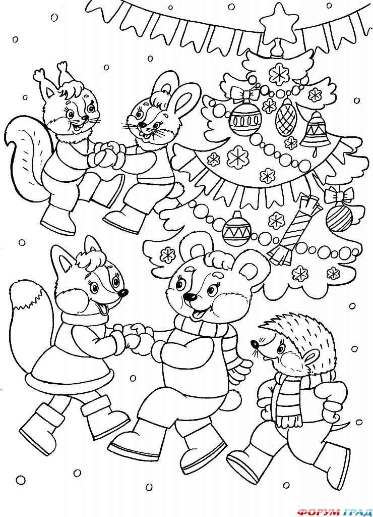 раскраски для школьников на Новый год 2019, фото 1