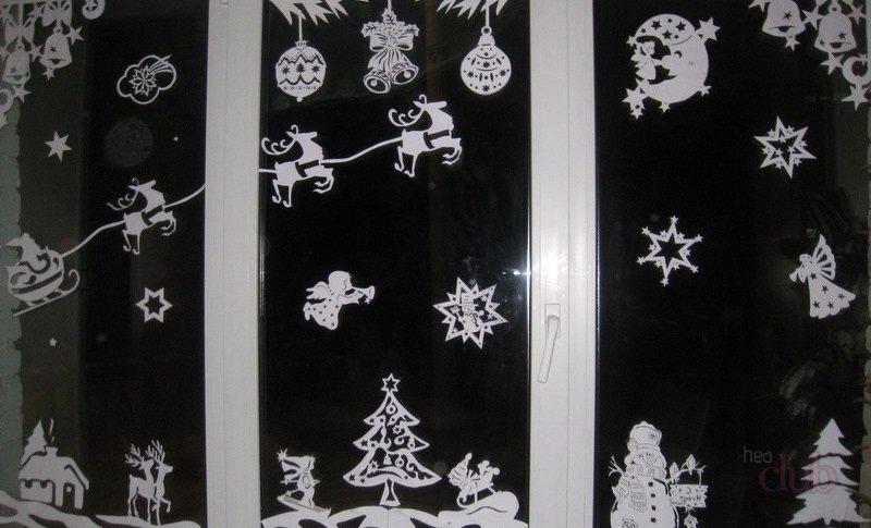 новогодние вытынанки 2019 схемы и шаблоны на окна и шторы, фото