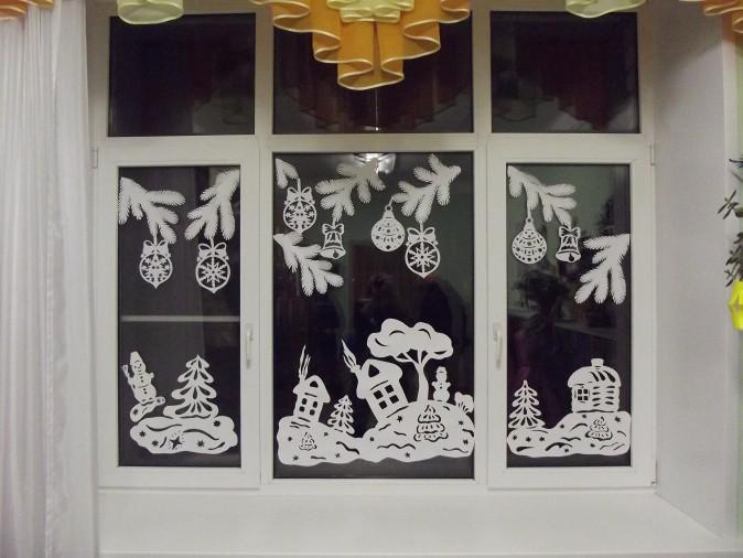новогодние вытынанки на окнах, фото 6