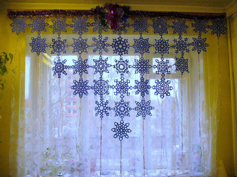 новогодние вытынанки на шторах, фото 1