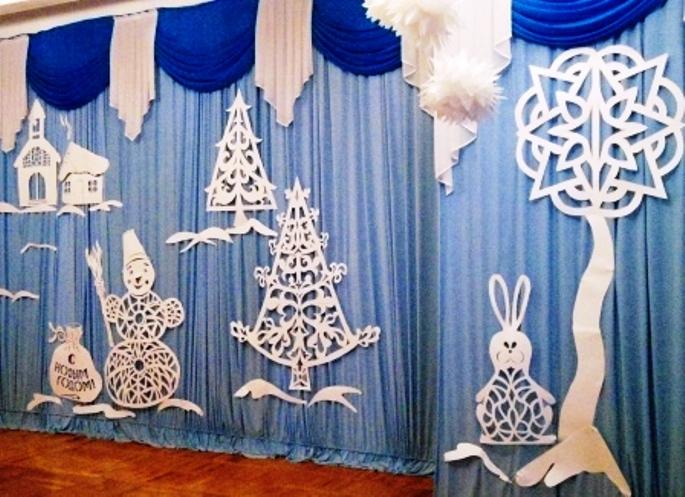 новогодние вытынанки на шторах, фото 2