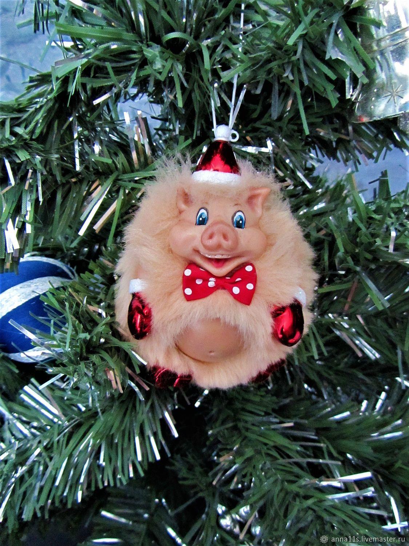 игрушка-свинья на еловую ветку фото 1