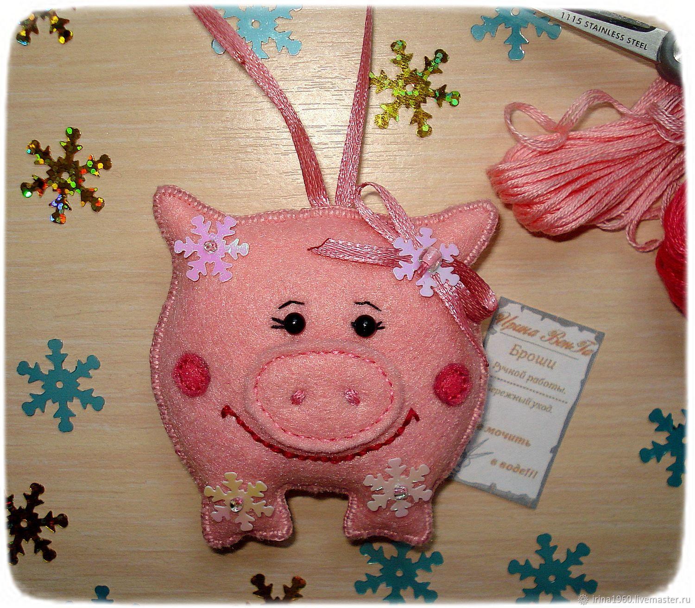 игрушка-свинья на еловую ветку фото 2