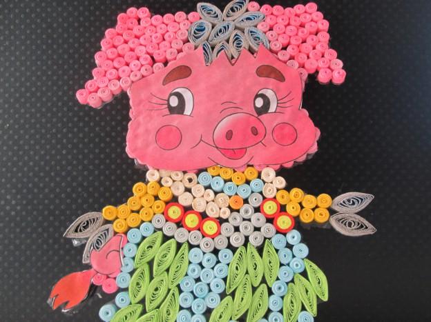 свинья (поросенок) из пуговиц