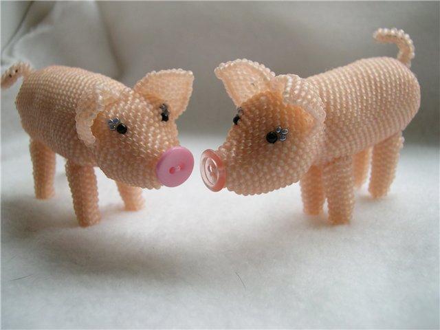 свинья из бисера, простые схемы фото 2