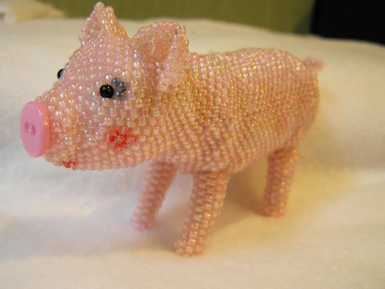 свинья из бисера, простые схемы фото 3