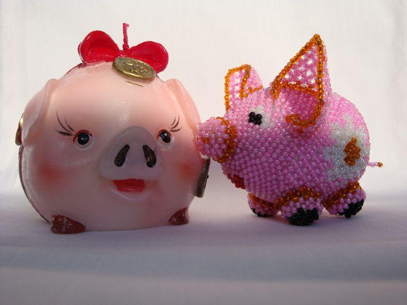 свинья из бисера, простые схемы фото 4